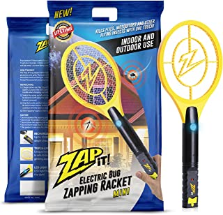 ZAP IT! Mini Bug Zapper - Rechargeable Mosquito, Fly Killer and Bug Zapper Racket - 4,000 Volt - USB Charging, Super-Bright LED Light to Zap in The Dark - Safe to Touch