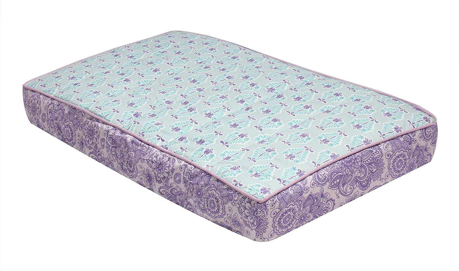 Bacati - Paisley Floral Quilted Changing Pad Cover (Lilac/Purple/Aqua Floret)