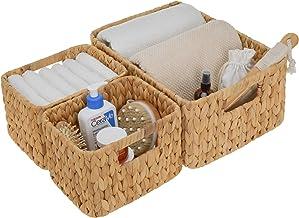 StorageWorks Hand-Woven ACM Storage Basket, Wicker Shelf Storage Tote Basket, Black, Set of 3 (1PC Large, 2PCS Medium)