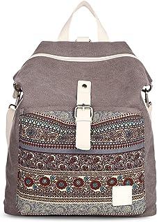 SIVENKE Damen Rucksack Canvas Frauen Schultertasche Umhängetasche Groß Laptop Bag Backpack Daypack für Schule Uni Reisen S...