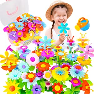 Kidcia Flower Garden Building Toys, 131 PCS Stem Toys,Girls Gifts for Age 3-7 , Building Toys with Storage Case for Toddlers (New Version), Educational Flower Arrangement Toy Set for Birthday Gift