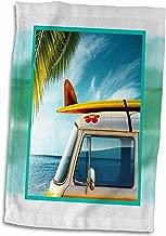 3D Rose Vintage Van with Surfboard Hand/Sports Towel 15 x 22