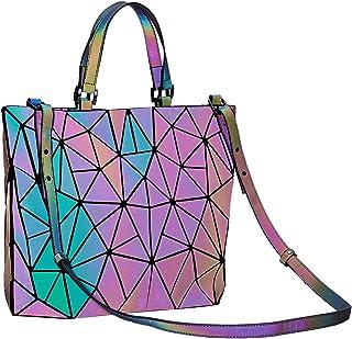 Harlermoon Geometric handbag Luminous women bag Holographich Purses Flash Reflactive purse and handbag Tote for Women