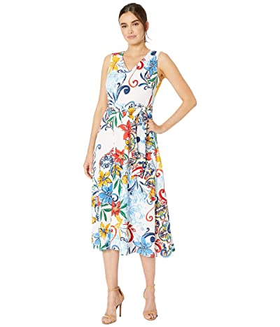 Tahari by ASL Multicolor Pebble Crepe Side Tie Dress (Amalfi Tile Print) Women