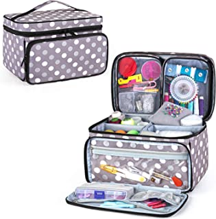 Luxja Sewing Accessories Organizer with 2 Detachable Clear Pockets, Sewing Supplies Organizer (Patent Pending), Polka Dots