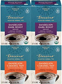 Teeccino Dandelion Tea Variety Pack – Dark Roast & Caramel Nut – Rich & Roasted Herbal Tea That's Caffeine Free & Prebioti...