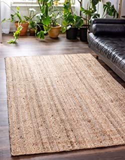 Unique Loom Braided Jute Collection Hand-Woven Natural Fibers Natural Area Rug (6' 3 x 9' 2)