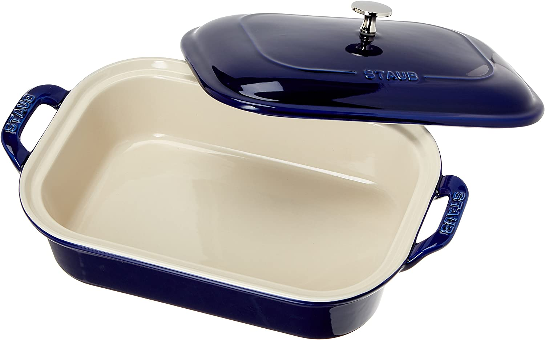 Staub 40509-097 Ceramics Rectangular Covered Baking Dish, 12x8-inch, Dark bluee
