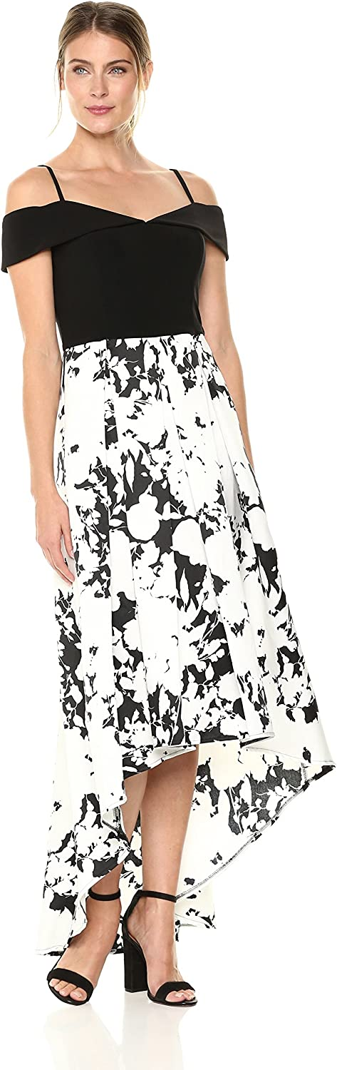 Marina Womens Printed Hi Lo Ballgown Formal Dress