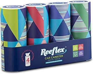 Reeflex, 4 Canisters Disposable 2 Ply Designed Perfect Cup Holder Fit Travel Car Canister Facial White Tissues, Soft Durable and Convenient, 200 Count 4 Canisters