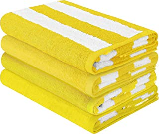 HomeLabels Luxury Premium Quality Cabana Beach Towels - Pack of 4 Cabana Stripe Pool Towels (30 x 60 Inches) Multi Purpose Towels with High Absorbency, Yellow