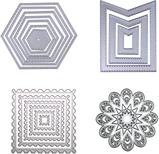 Dies Cut Cutting Die Nesting for Cards Making Scrapbooking Metal Stencils Wreath Sunflower Wavy Stitched Square Hexagon Sunflower Embossing for DIY Photo Album Decorative Embossing DIY Paper(Set 8)