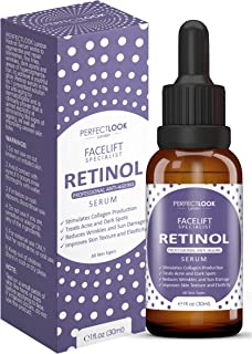 Retinol Serum High Strength with Hyaluronic Acid - FACELIFT SPECIALIST by PERFECT LOOK LONDON. Professional Anti Ageing and Anti Wrinkle for Face. Treats Acne Scars, Fine Lines and Dark Circles