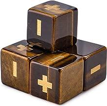 Handmade Semiprecious Stone Fudge Dice (4-Pack) | Premium Engraved 16mm Dice Accessories & Black Velvet Pouch | Fate Tabletop RPG Gaming
