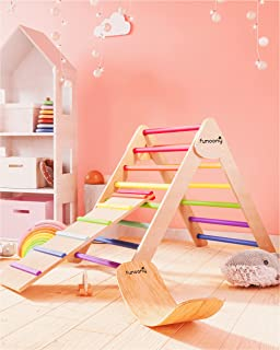 Pikler Triangle Climber with Ramp, Wooden Baby Climbing Toys Indoor, Foldable Montessori Toddler Climber Slide, Colorful W...