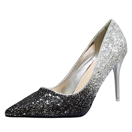 46c6d70f9574 Rock on Styles Ladies Women Party Super Sparkly Two Tone Glittery High Heel  Court Shoes -