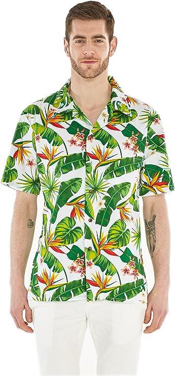 Camisa Hawaiana Hawaii para Hombres con Mangas Hawaianas Camisa Hawaiana Ave del Paraiso
