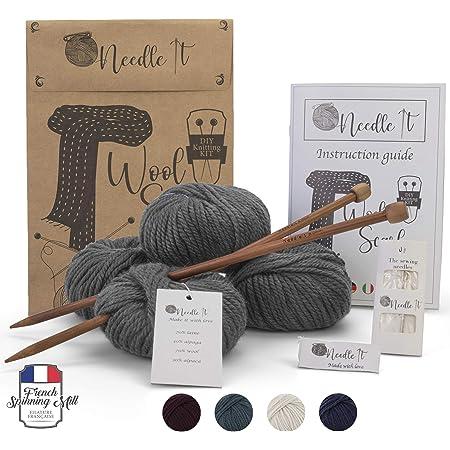 Needle It – Kit Tricot pour débutant Adulte Complet avec Aiguilles à Tricot – Écharpe en Laine à Tricoter soi-même - Idée Cadeau (Gris)