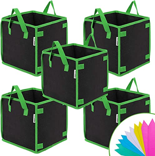 2021 VIVOSUN 5 Pack lowest discount 5 Gallon Square Grow Bags, Thick Fabric Bags with Handles for Indoor and Outdoor Garden outlet online sale