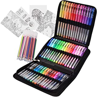 Typecho 96 Color Artist Gel Pen Set with Portable Travel Case, Includes 24 Glitter, 10 Metallic, 7 Neon, 6 Pastel, 1 Class...