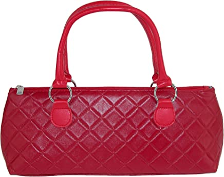Primeware Quilted Wine Bottle Clutch Lunch Bag Purse, Red