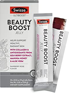 Swisse Ultiboost Beauty Boost Jelly Sticks, Raspberry Rose | Healthy Skin Care Supplement | Marine Collagen...