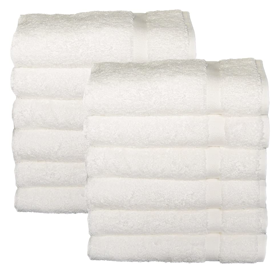 Cotton Salon Towels - Gym Towel Hand Towel - (12-Pack, White) - 16x26 inches - Ringspun Cotton, Maximum Softness and Absorbency, Easy Care
