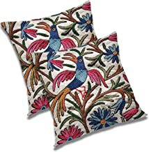RADANYA Floral Bird Printed Polyester Cushion Cover (16x16-inch) - Set of 2 Pieces