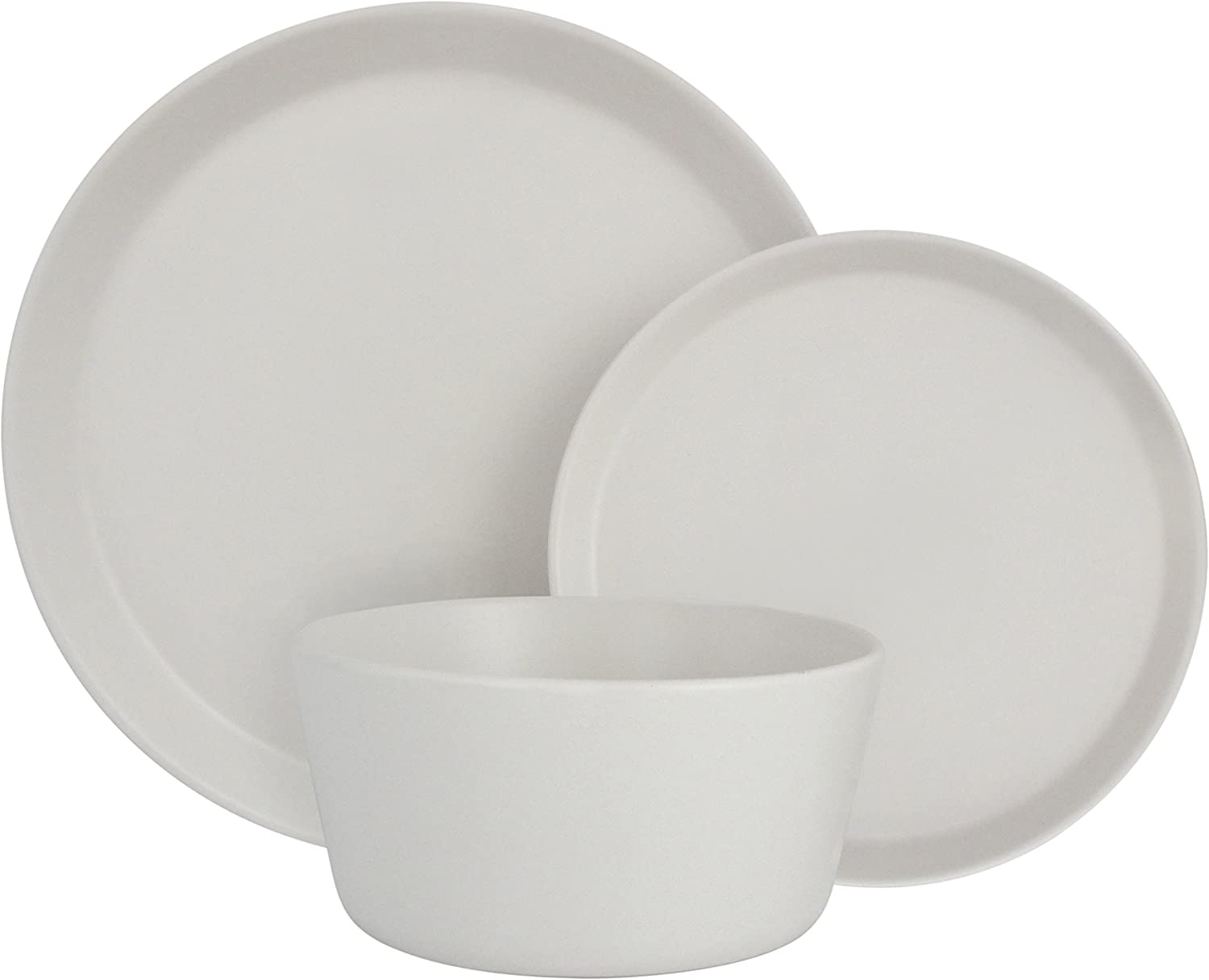 Melange Stoneware 18-Piece Dinnerware Set (Moderno White)   Service for 6  Microwave, Dishwasher & Oven Safe   Dinner Plate, Salad Plate & Soup Bowl (6 Each)