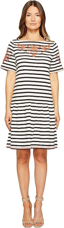 Stripe Embroidered Dress