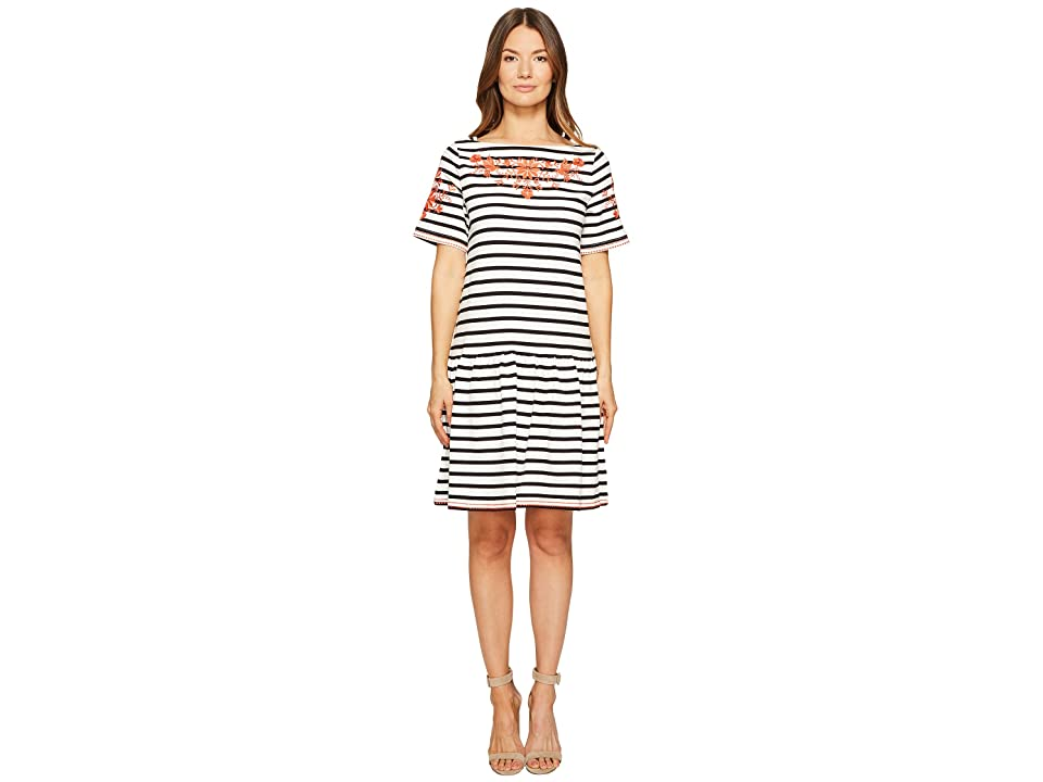Kate Spade New York Stripe Embroidered Dress (Off-White/Black) Women