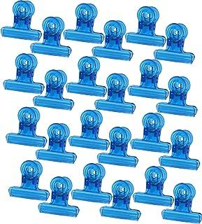 24 قطعة من مشابك البلاستيك الورقية مقاس 3.48 سم بمشبك حقيبة رقائق بلاستيكية بمشبك لرقائق الطعام، مشابك مشبك ورقي (أزرق)