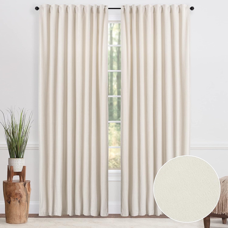 Chanasya Off White Velvet Curtains Panel - Classy Direct Deluxe store -Piece P 2 Set