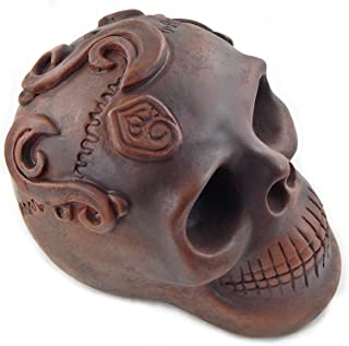 Bellaa 23163 Aztec Skull Statue Day of the Dead Sculpture Aged Offering