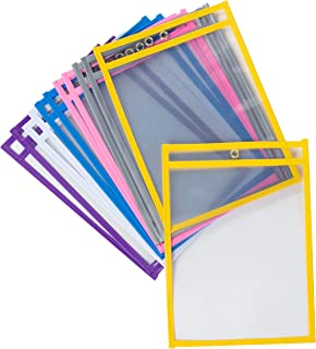 Juvale 12-Pack Reusable Plastic Dry Erase Pockets for Kids, Teachers, School, and Classroom Use, Assorted Colors, Fits 9 x 12 Paper