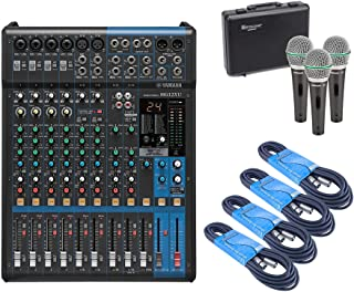 Yamaha MG12XU 12-Input 4-Bus Mixer with Effects, 4 x 20 Foot XLR Cables, and Samson Q63P Dynamic Supercardioid Handheld Mic (3-Pack)