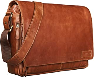 STILORD 'Rick' Schultertasche Leder für 15,6 Zoll Laptop Umhängetasche Aktentasche Bürotasche Unitasche Büffel-Leder