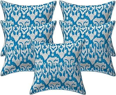 Amazon.com: Algodón impreso Kantha Beige 16 x 16 étnico ...