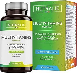 Multivitaminas y Minerales 29 Nutrientes Esenciales | Complejo Multivitaminico Vegano con Vitaminas A. B. C. D. E. K. Biotina. L-cisteína. Coenzima Q10 y 9 Minerales | 60 Cápsulas Veganas Nutralie