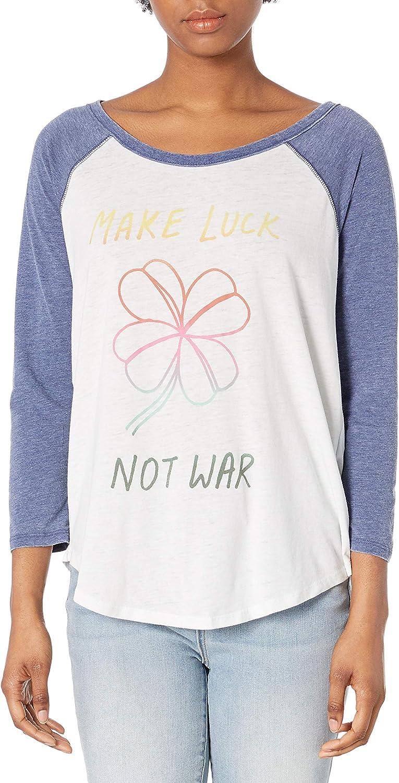Lucky Brand Womens Make Luck Not War Baseball Tee
