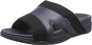 Fitflop Men's Freeway Pool Slide In Leather/Canvas Mix Open Toe Sandals, Multicolour (Black/Supernavy 401), 10 UK 44 EU