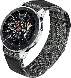 TRUMiRR Ersättning för Samsung Galaxy Watch 3 45 mm/Galaxy Watch 46 mm/Gear S3 nylonrem, 22 mm öglevävd nylon och äkta läd...