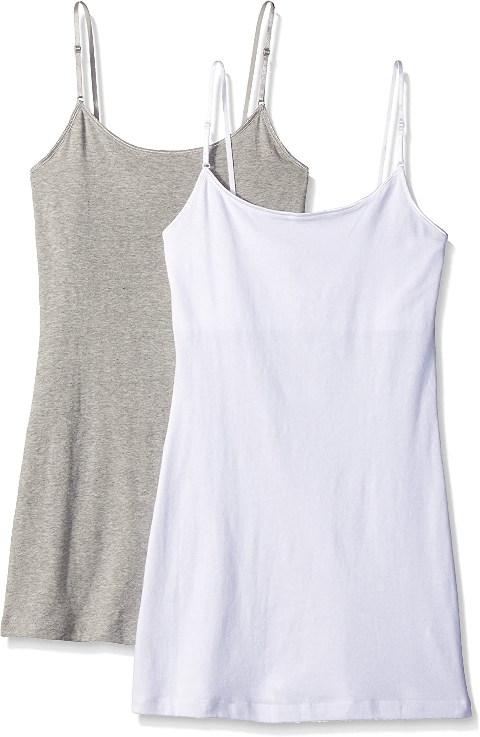 Pure Style Girlfriends Women's Long Cami Tank with Built in Bra & Adjustable Strap 2Pack