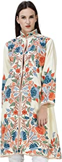 Exotic India Cream Long Kashmiri Jacket with Embroidered Flowers
