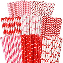 Cooraby 200 Pieces Valentine's Day Paper Straws Red and Pink Biodegradable Drinking Hearts Stripe Bicolor Stripe Dot Chevr...