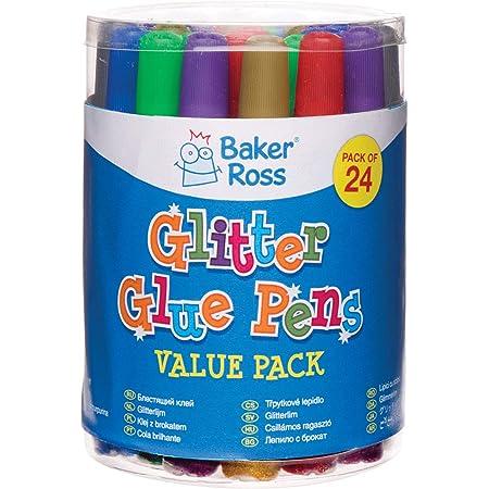 Baker Ross Rotuladores de pegamento con purpurina para manualidades y decoraciones infantiles creativas (pack de 24)