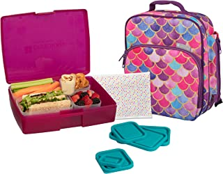 Bentology Girls' Lunch Bag Kit - Durable Insulated Tote Bag with Handle and Bottle Holder Set Includes Bento Box, 5 Containers & Ice Pack - BPA & PVC Free - Mermaid