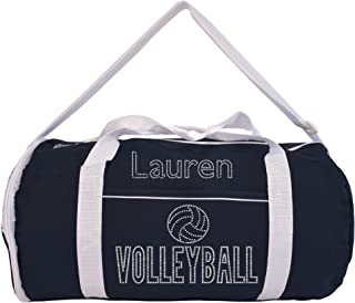 Kaysees Personalized Two-Tone Sport VOLLEYBALL Duffel Bags with Player's Name Black