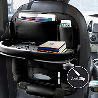 EYUVAA LABEL PU Leather Car Back seat Organizer with Foldable Dining Table Tray Waterproof Storage Pockets with Tablet, Mo...
