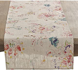 Occasion Gallery Natural Color Printed Floral Design Table Runner, 16 x 72 Inch